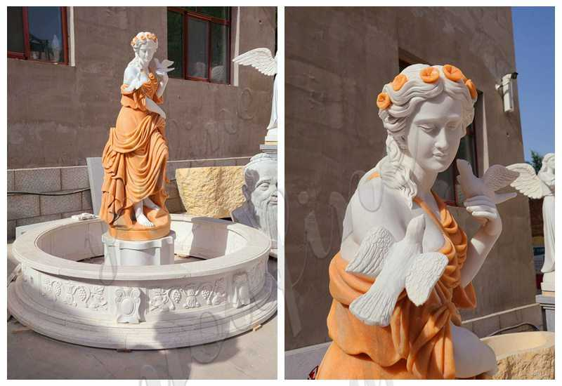Marble Lady Statue Fountain for Garden detail