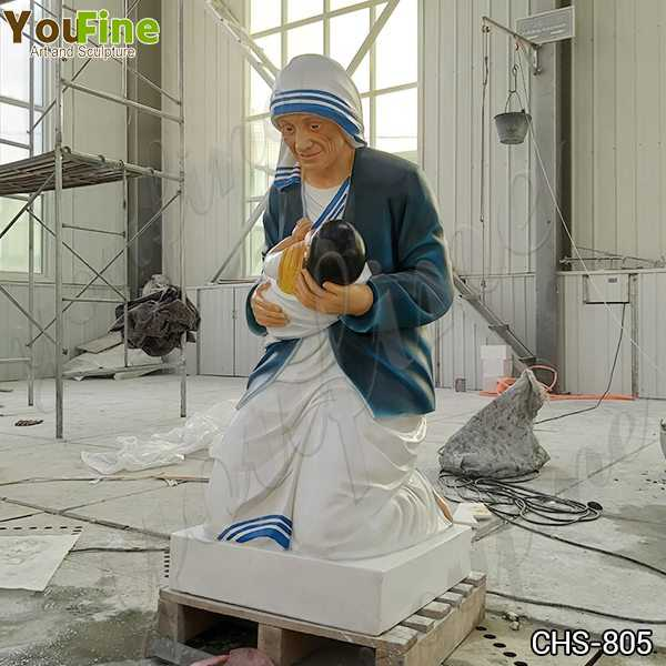 Marble Mother Teresa Holding Baby Statue for Sale