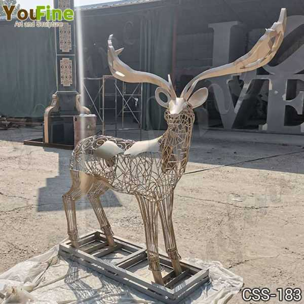 Modern Life Size Deer Stainless Steel Sculpture for Sale