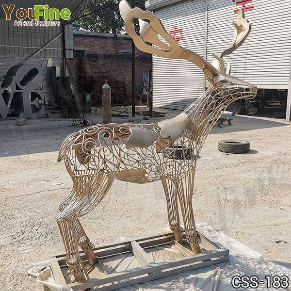 Modern Life Size Deer Stainless Steel Sculpture for