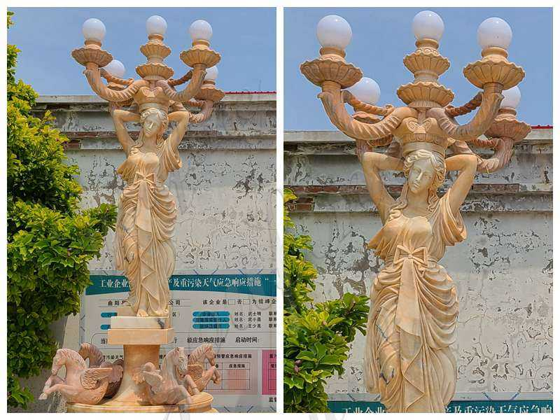 Natural Beige Marble Lady Statue with Lamps
