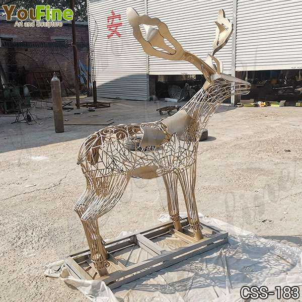 New Design Modern Life Size Deer Stainless Steel Sculpture for Sale