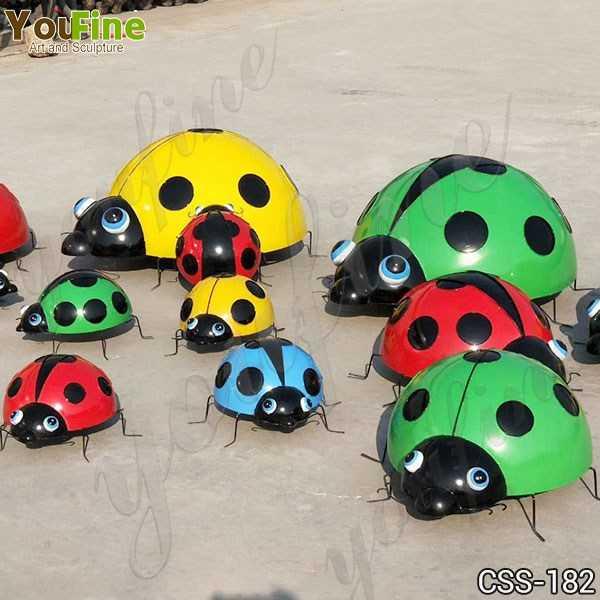 Outdoor Garden Stainless Steel Ladybug Sculptures