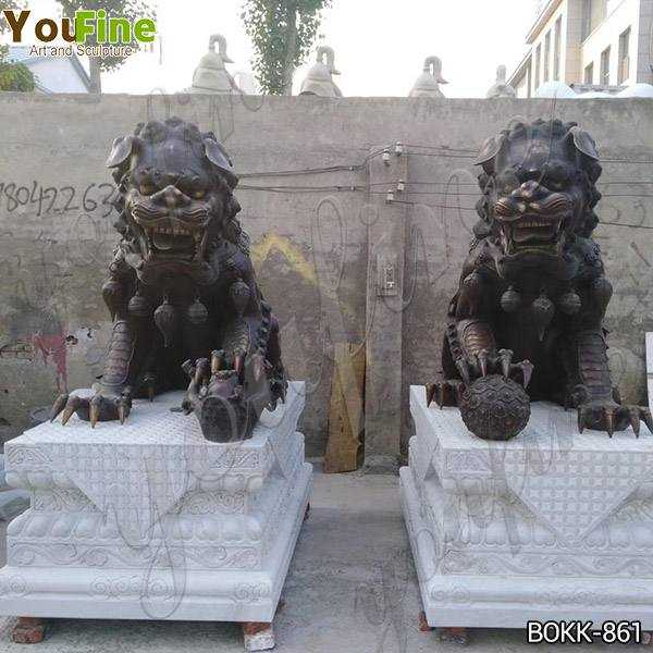 Outdoor Large Bronze Chinese Lions Statue for Decor from Factory Supply BOKK-861