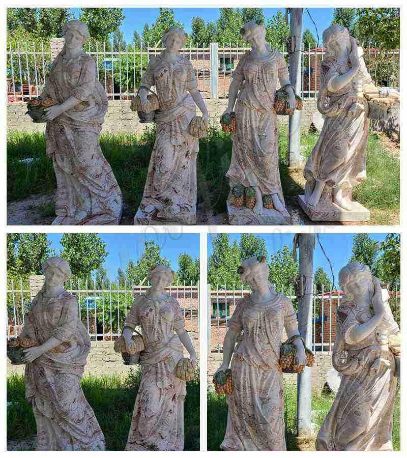 Outdoor Marble Four Seasons Ladies Statues Garden detail