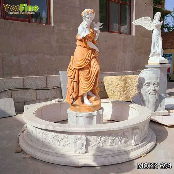 Outdoor Marble Lady Statue Fountain for Garden for Sale