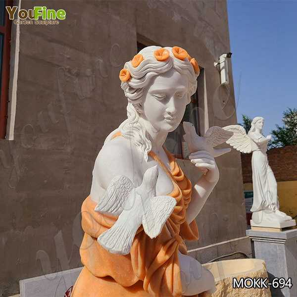 Outdoor Marble Lady Statue Fountain for Garden