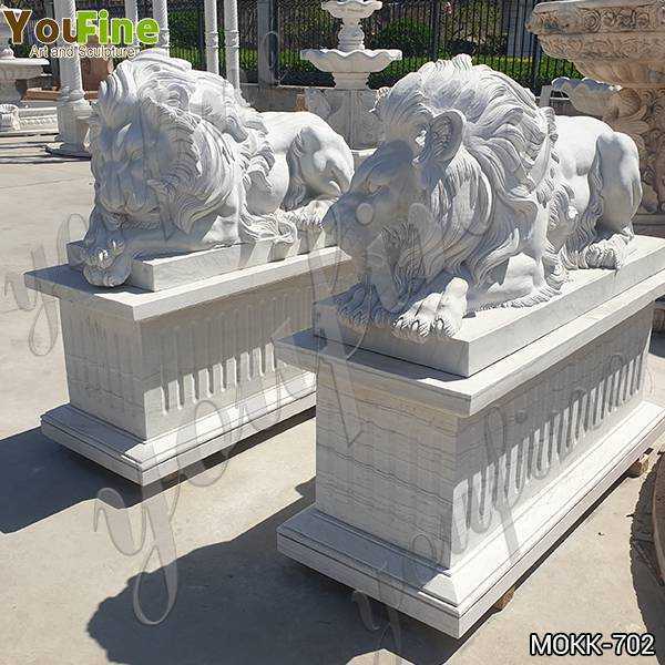 Western Style White Marble Restful Lion Statues Suppliers MOKK-702