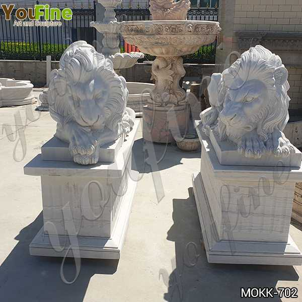 Western Style White Marble Restful Lion Statues