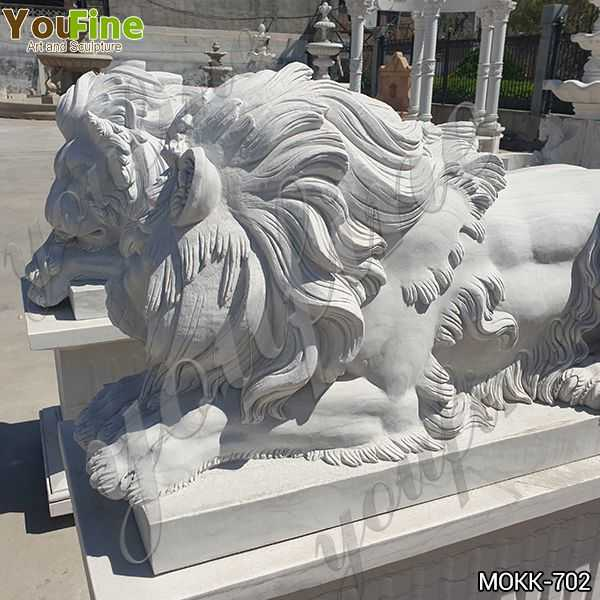 White Marble Restful Lion Statue