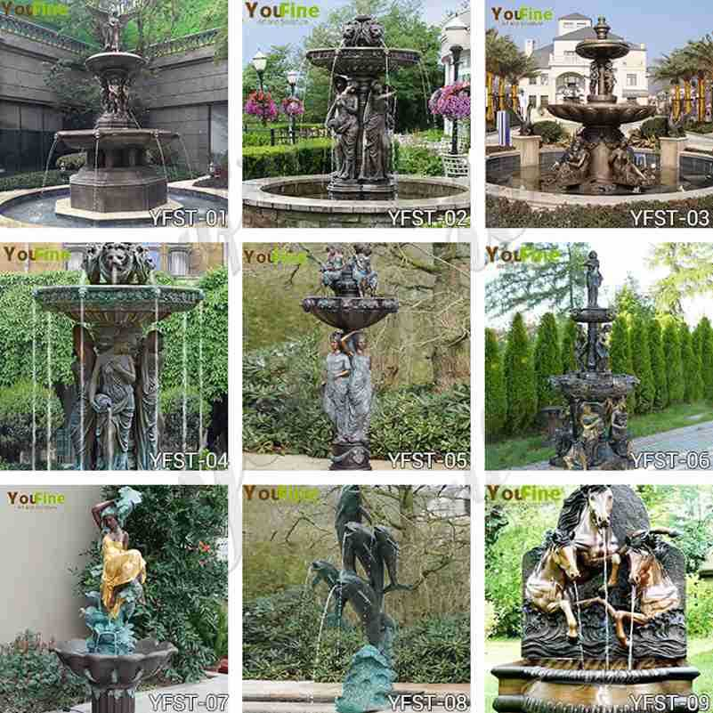 bronze water fountain statues,