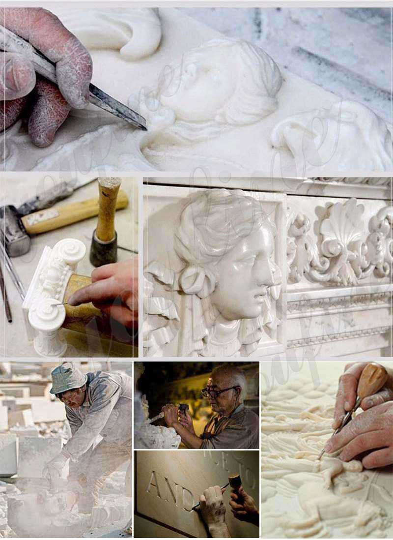 process of Natural Beige Marble Lady Statue with Lamps