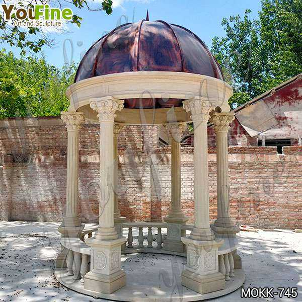 Outdoor Beige Marble Wedding Gazebo Decorations for Sale MOKK-745