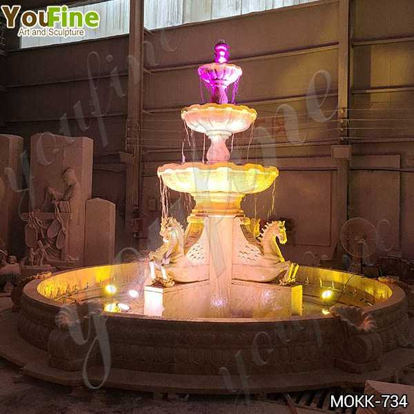 Best Outdoor White Marble Horse Fountain with Lights from Factory MOKK-734