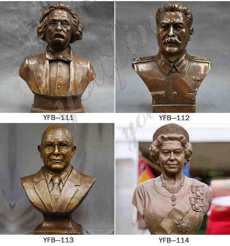 Brass Einstein Bust Statue