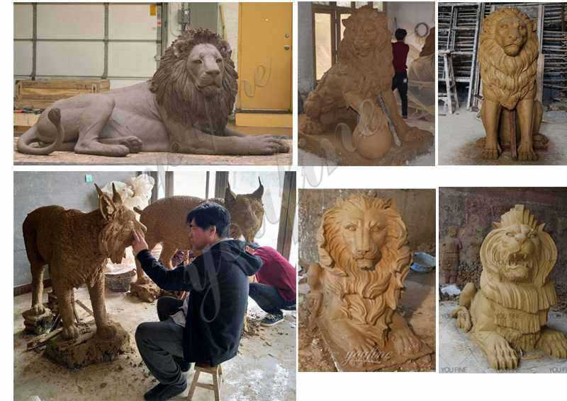 Bronze Animal Lion Statue for Decor