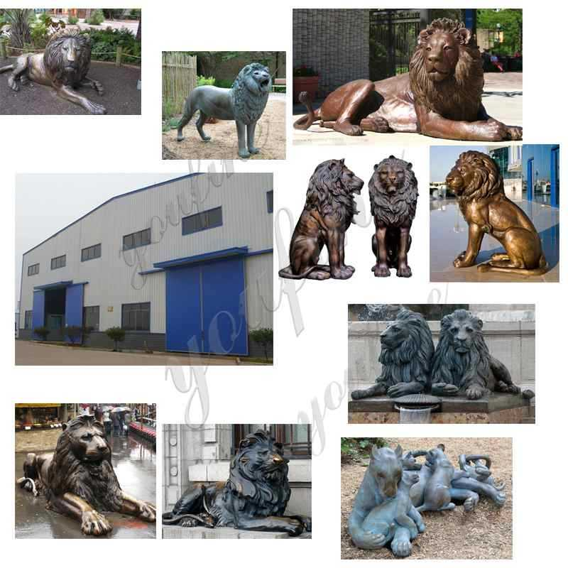Bronze Lions Sculptures for Garden