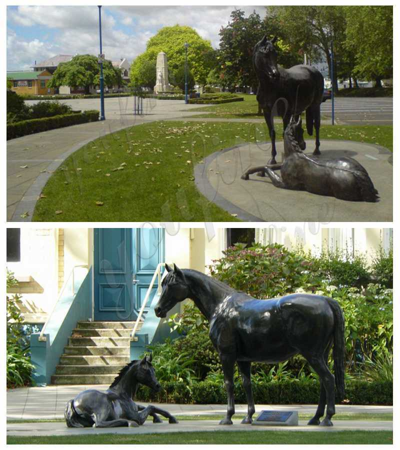 Bronze Mare with Foal Sculptures detail