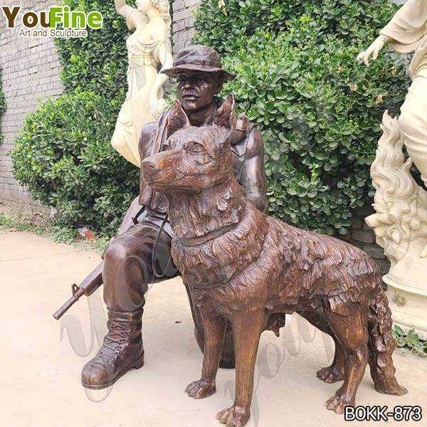 Bronze Soldier with Dog Statue for Sale
