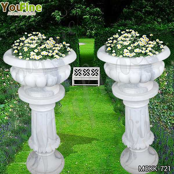 Classic Small Size White Marble Flower Pots Decoration for Sale MOKK-721