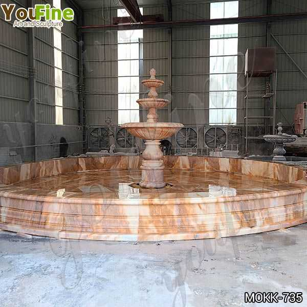 Courtyard Red Three Tiered Marble Fountain for Sale
