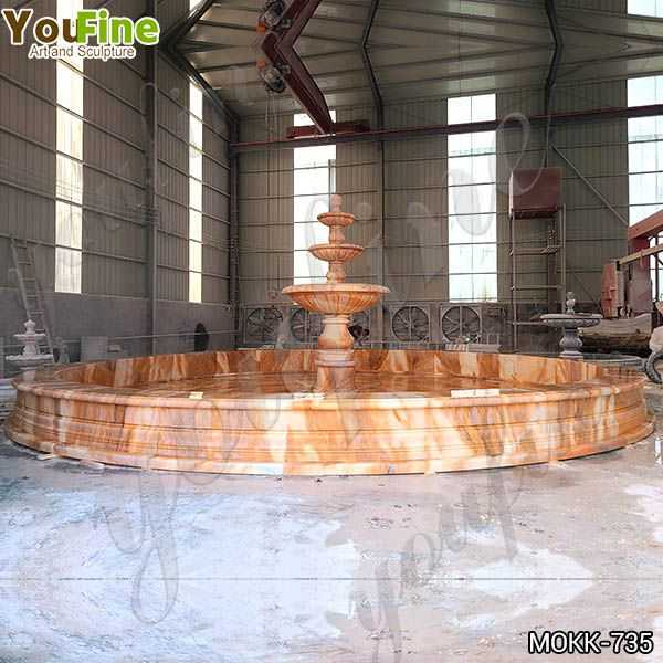 Outdoor Courtyard Red Three Tiered Marble Fountain for Sale MOKK-735