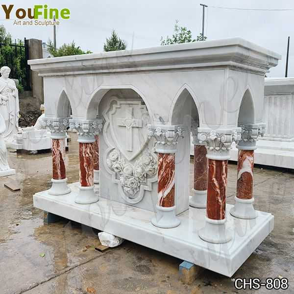 Customized Marble Altar Table with Columns for Church for Sale