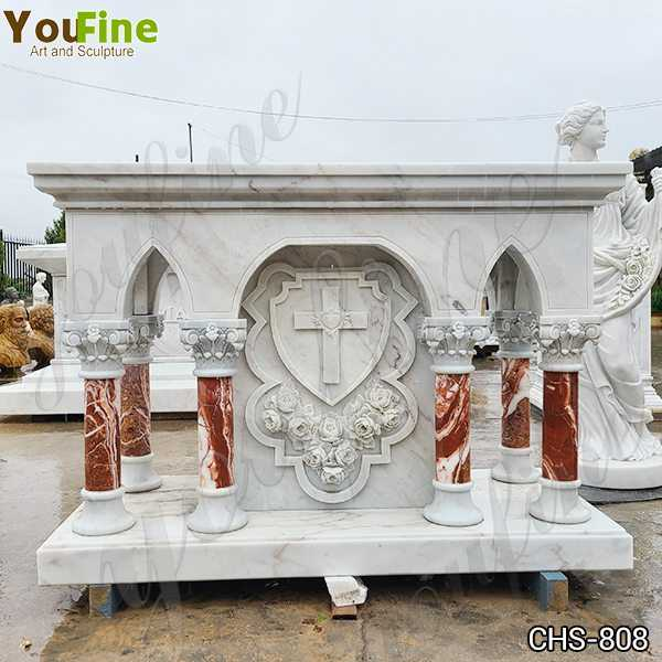 Customized Marble Altar Table with Columns for Church