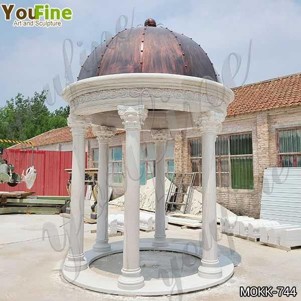 Customized White Marble Gazebo for Wedding Decoration Supplier MOKK-744
