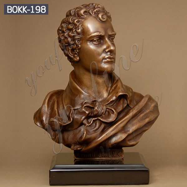 Famous English Poet Bronze Bust of Lord Byron Statue Desk Decoration Maker BOKK-198