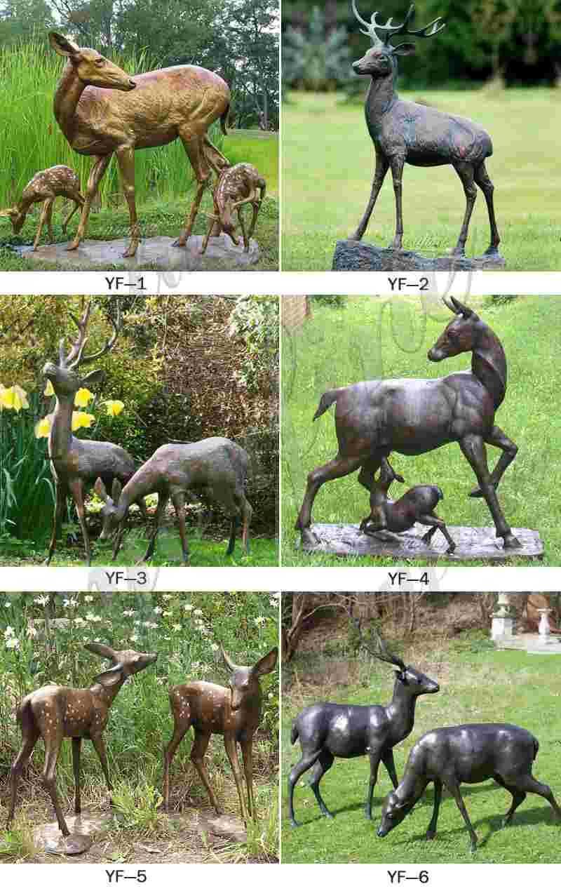 Garden Art Bronze Deer Sculptures