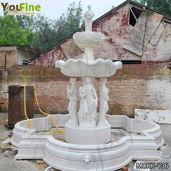 Grand Style White Marble Ladies Statue Fountain Factory Supply