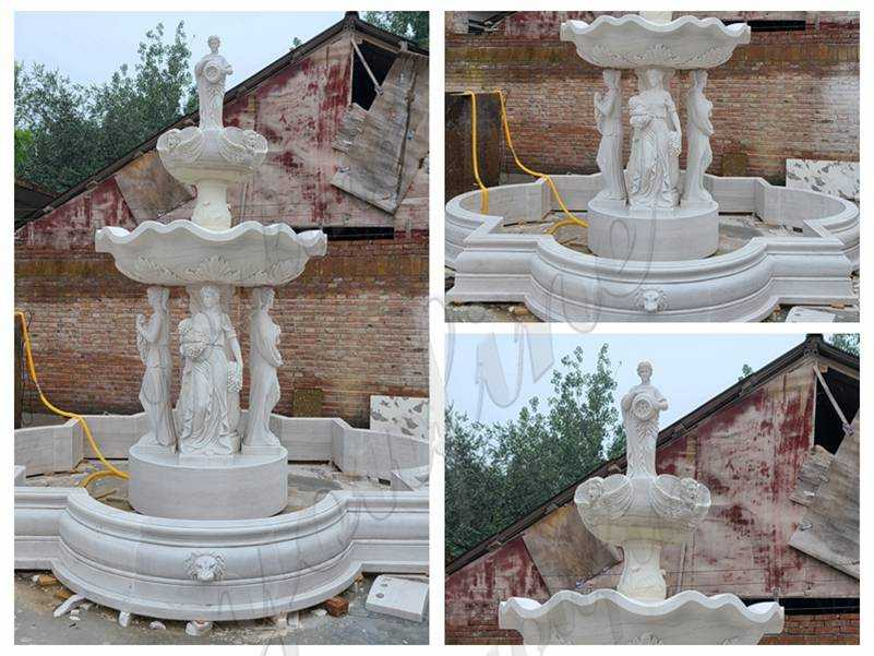 Grand Style White Marble Ladies Statue Fountain details