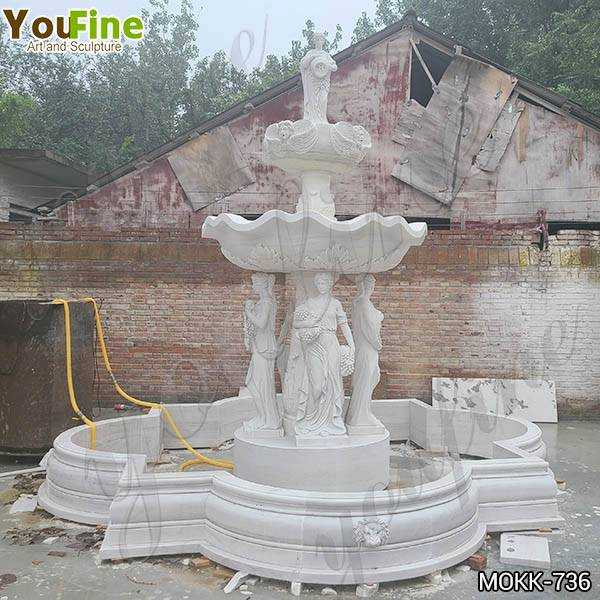 Grand Style White Marble Ladies Statue Fountain