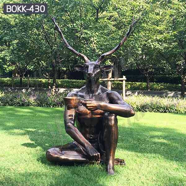 High-quality Casting Bronze Deer-man Drinking Tea Statue for Sale BOKK-430