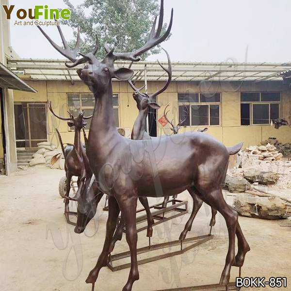 Hot-selling Garden Art Bronze Animal Sculpture of Deer Design Supplier BOKK-851