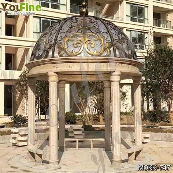 Italian Style Large Beige Marble Garden Gazebo Suppliers