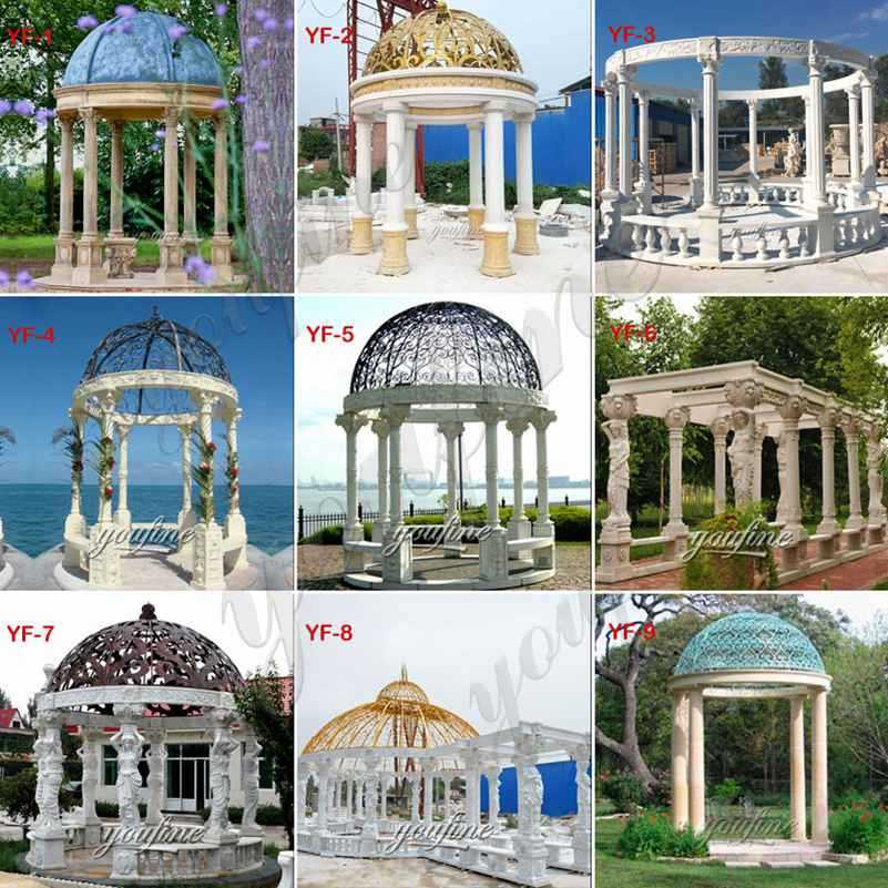 Italian Style Large Beige Marble Garden Gazebo