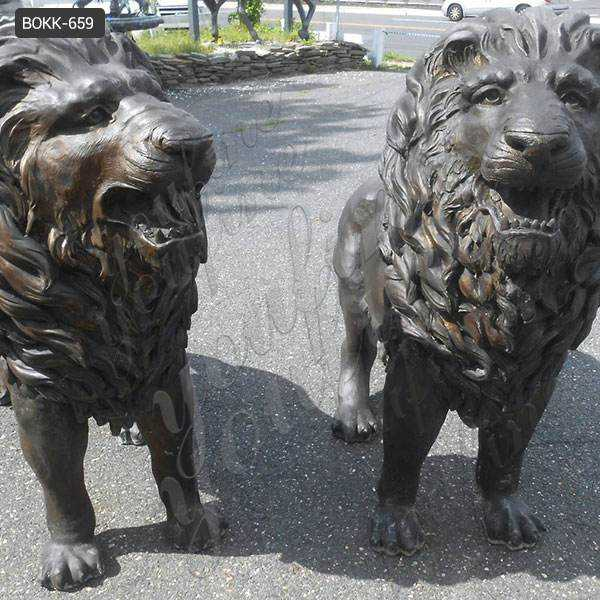 Large Casting Bronze Animal Statue of Lion at Front Door Maker BOKK-659
