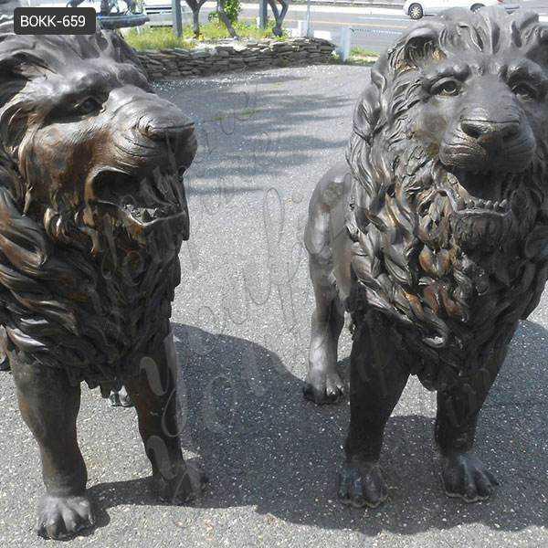 Large Casting Bronze Animal Statue of Lion at Front Door Maker BOKK-659