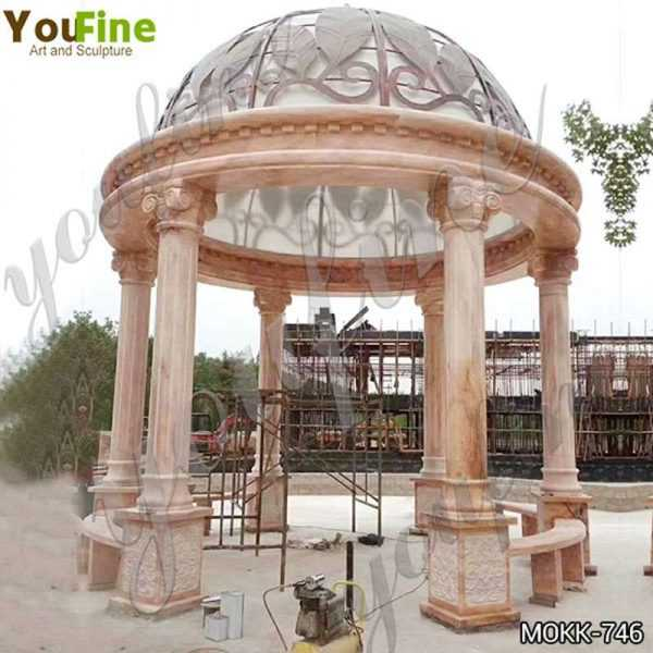 Large Outdoor Beige Stone Gazebo Pavilion with Iron Top Suppliers MOKK-746