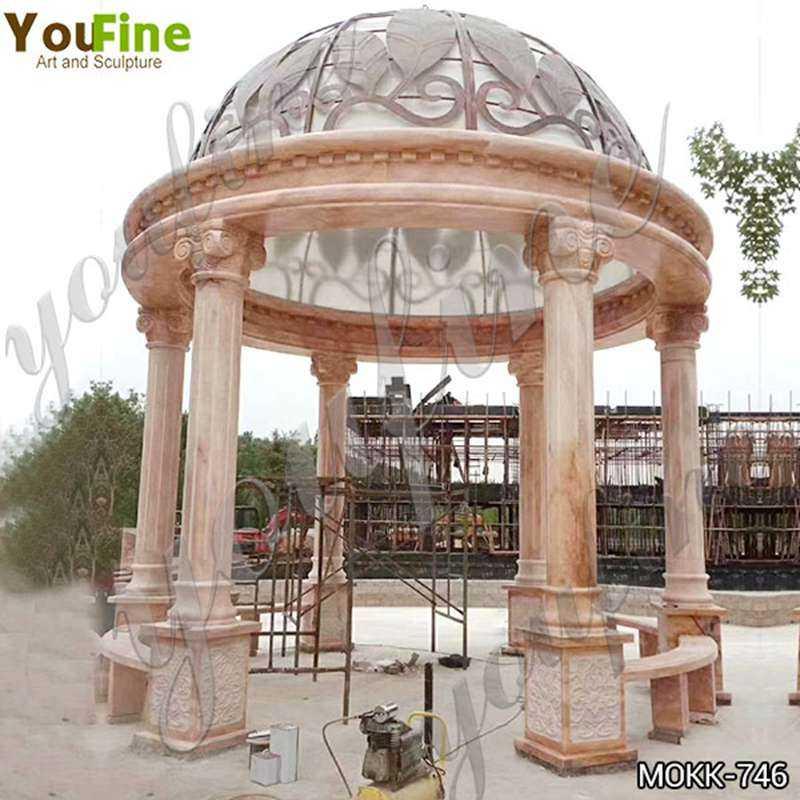 Large Outdoor Beige Stone Gazebo Pavilion with Iron Top Suppliers MOKK-746