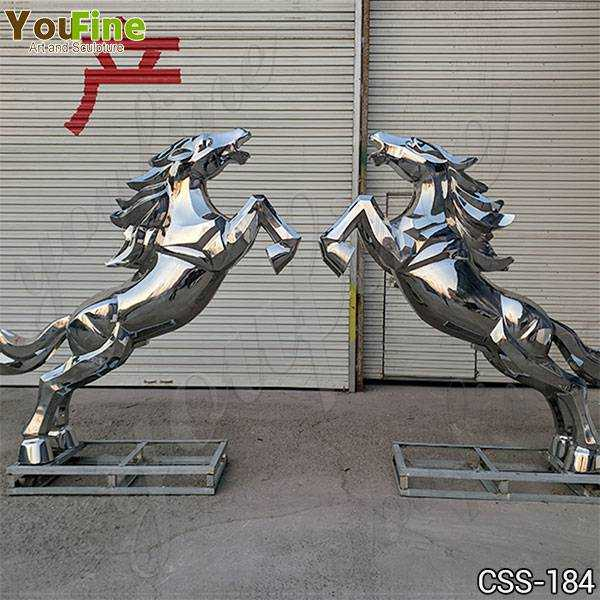 Metal Art Large Stainless Steel Horse Sculpture Factory Supply CSS-184
