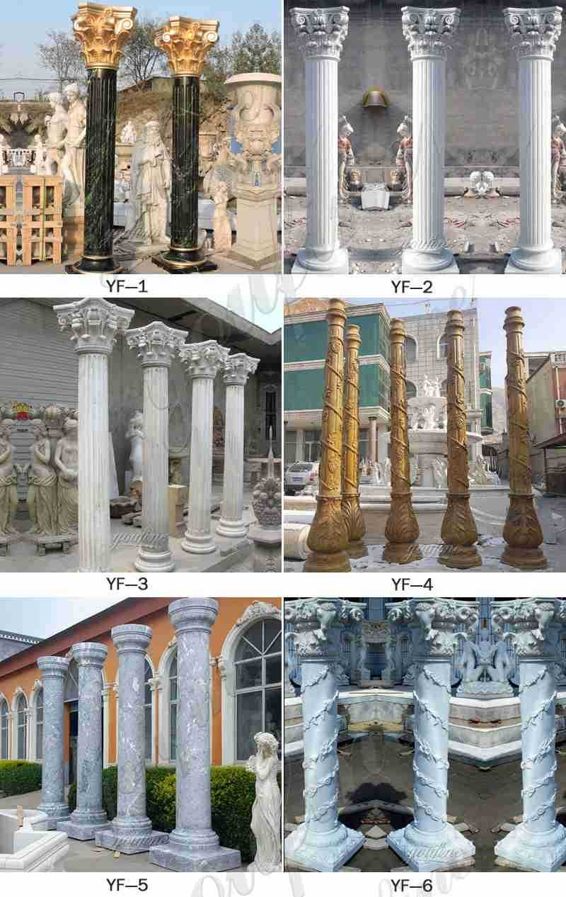 Large White Solid Tuscan Marble Column