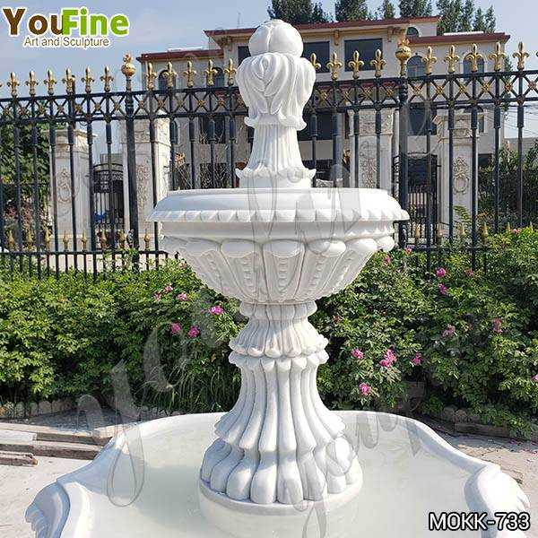 Life Size Natural White Marble Tiered Water Fountain details