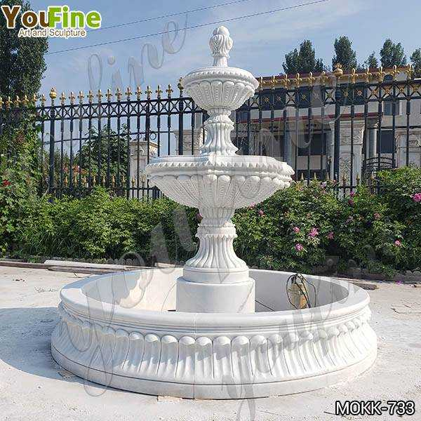 Life Size Natural White Marble Tiered Water Fountain for Sale