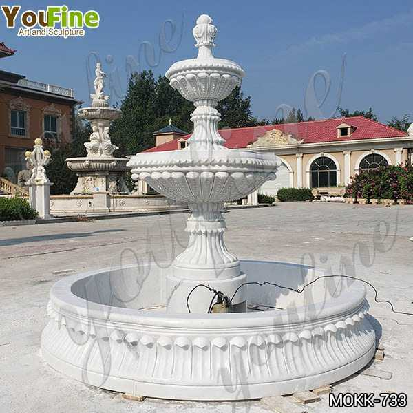 Life Size Natural White Marble Tiered Water Fountain