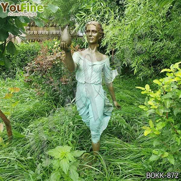 Life Size Outdoor Bronze Lady Garden Sculpture for Sale