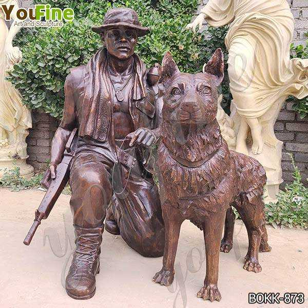Life Size War Memorial Bronze Soldier with Dog Statue for Sale BOKK-873