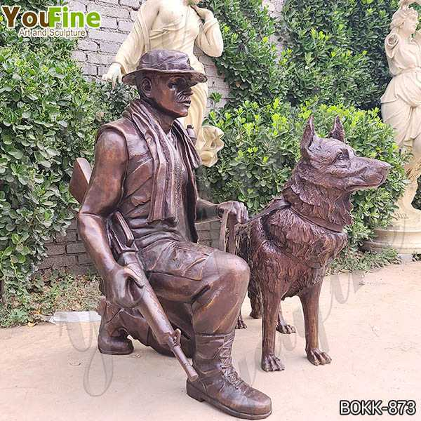 Life Size War Memorial Bronze Soldier with Dog Statue